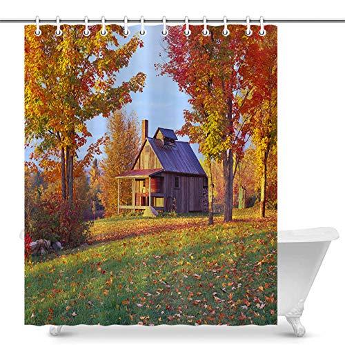 Vikes Autumn Shower Curtain,Country Side Vermont Autumn,Bathroom Decor Polyester Fabric Bath Shower Curtain,72Wx72L