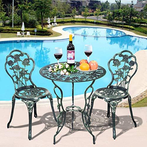 COSTWAY Bistro Table Set Cast Aluminum & Iron Antique Weather Resistant Round Table W/Umbrella Hole, Antique Bronze Finish, Matching Garden Furniture Set, Rose Design