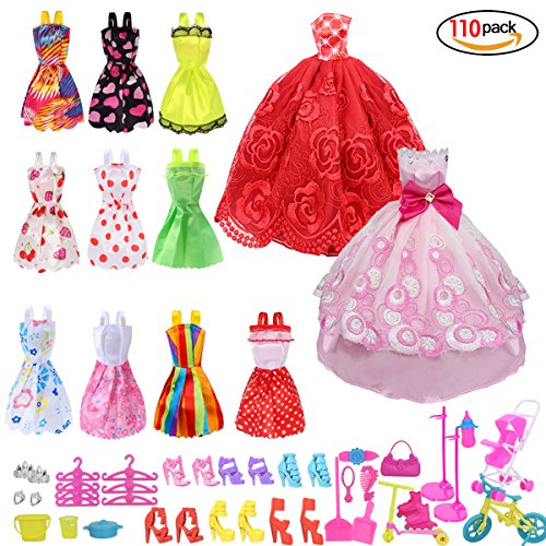 Runfon Accesorios para muñecas,Accesorios de Vestir para Las Muñecas , 10pcs Verano Faldas Vestidos + 2 pcs Vestido de Novia +98 Accesorio de muñecas
