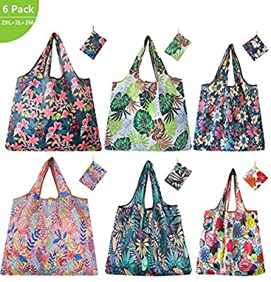 Reusable Grocery Bags 6 Pack Foldable Eco-friendly Large Groceries Tote Bag with Pouch Washable Sturdy Cute and Lightweight Shopping Bags (3 Size Tropical Theme)