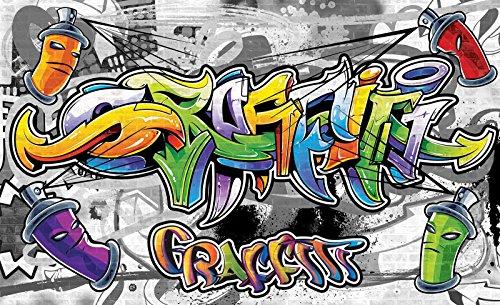 FORWALL Fototapete Vlies - Tapete Moderne Wanddeko Buntes Graffiti VEXXL (312cm. x 219cm.) AMF2295VEXXL Wandtapete Design Tapete Wohnzimmer Schlafzimmer