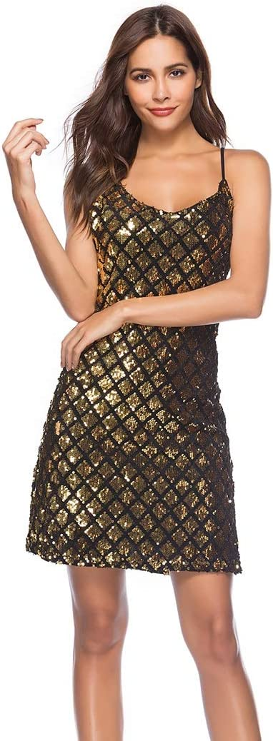 Womens Clothing Suspender V-Neck Embroidered Sequin Single Breasted Slim Dress Evening Dress Womens Clothing (Color : Gold, Size : L)
