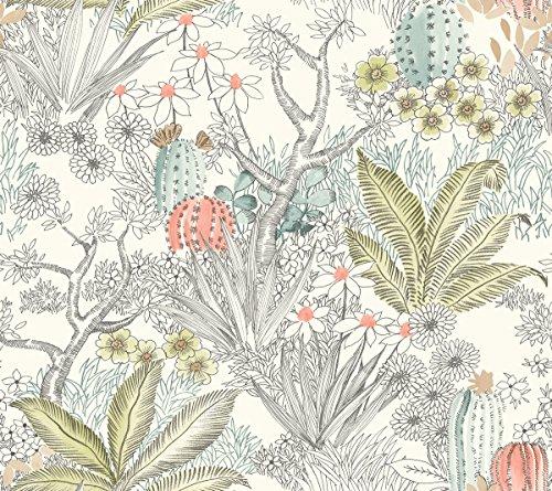 York Wallcoverings ON1613 Flowering Desert Wallpaper Grey
