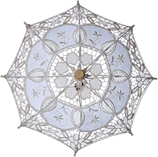 Amosfun White Lace Umbrella Western Wedding Parasol with Wooden Handle for Bride Decoration (Beige)