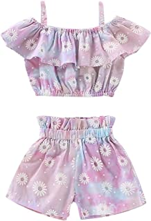 LuoLee Toddler Baby Girl Floral Halter Ruffled Outfits Set Strap Crop Tops+Short Pants 2 PCS Clothes Set