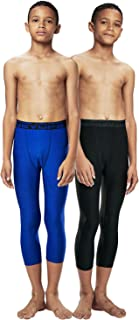 Boys 3/4 (2 Packs) Compression Cool Dry Tights Baselayer Running Active Leggings Pants