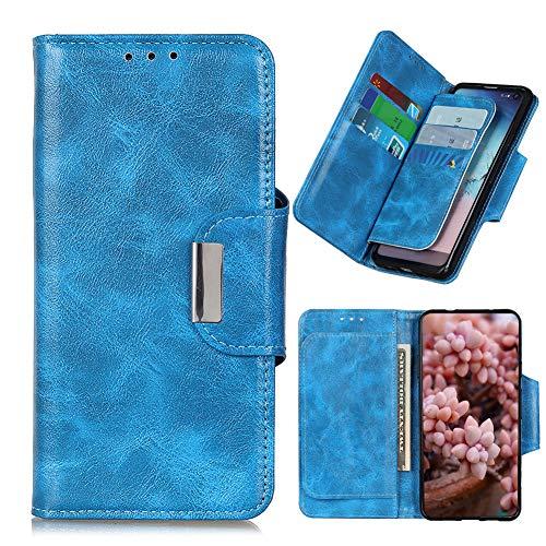 JARNING Prämie Leder hülle für Wiko Y70,Verrücktes Pferdemuster Flip Wallet Schutzhülle Tasche mit Ständer & Kartenfächer Magnetverschluss (Blau)