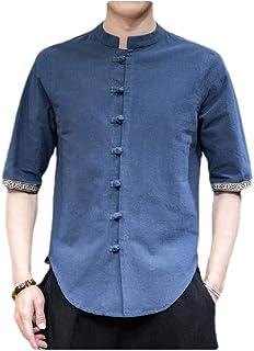 neveraway Men Summer Button Down Linen Oversized 3/4 Sleeve Relaxed Fit T-Shirt