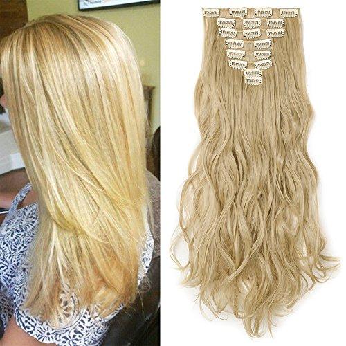 Clip in Extensions wie Echthaar günstig Haarteile 8 Tresssen 18 Clips für komplette Haarverlängerung Gewellt Haarextensions 17