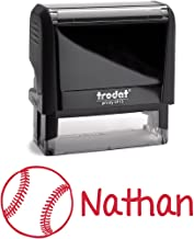 Personalized Kids Name Self Inking Stamp, Softball Stamp, Custom Stylish Font, Customized Name, Rubber Stamp, Naming Stamp, Children Signature Stamper, School Book Label Child Name Baseball (Red)