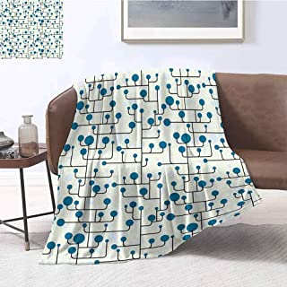 YOYI-Home Geometric Premium Microfiber Throw Blanket Abstract Lines Dots of Many Sizes Modern Pattern Ornamental Minimalistic Cozy Blanket fit for Outdoor W54 x L72 Inch Blue Eggshell Black