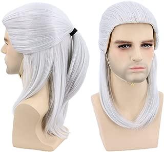 Topcosplay Halloween Costumes Cosplay Wig Grey Medium Sliver Wig for Man