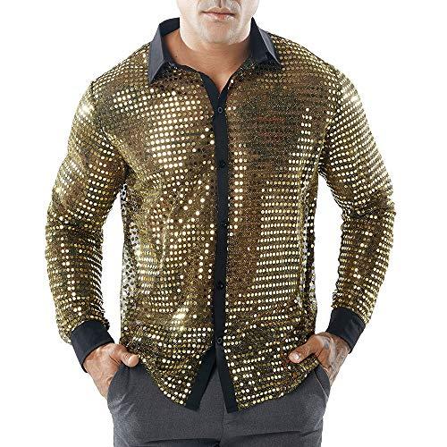 Herren Pailletten Hemd Kleid Shirt 70er Disco Party Kustüm Langarmshirt Glitzer Pullover Bluse T-Shirt Oberteile Shirt BlouseTops für Nightclub Party Tanzen Disco Halloween Cosplay (Gold, XL)