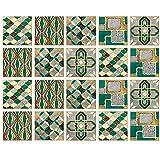 Pegatinas de azulejos de PVC para el baño y la cocina, 20 piezas 15x15 cm Azulejos de PVC autoadhesivos impermeables y anti-arañazos Pegatinas de pared de cemento Pelar, magnífico y ligero de lujo