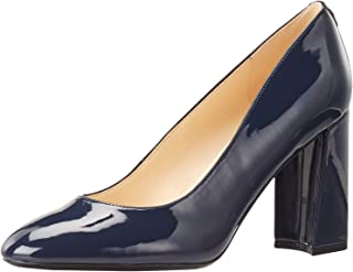 NINE WEST Women's Arya 9x9 Block Heel Pump, Dark Blue, 6