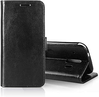 Vikisda らくらくスマートフォン F-42A F-01L らくらくスマートフォン 手帳型ケース カード収納あり 保護ケース 級感 レザー PU 全面保護 耐摩擦 スマホ 手帳 スマホケース (ブラック)