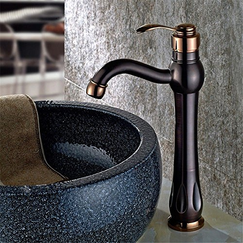 Moderne eenvoudige messing vervaardigd gepolijst warm en koud wastafel kraan badkamer wastafel kraan Europese zwart antieke koper bekken kraan zwart bronzen bol warm en koud water mixer