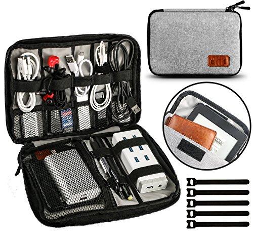 UNEEDE Kable Organizer Tasche Electronic Kabeltasche Zubehör Reisetasche Kable Aufbewahrung Handtasche Organizer Klein Travel mit 5 Kabelindern -Grey