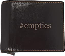 #empties - Soft Hashtag Cowhide Genuine Engraved Bifold Leather Wallet