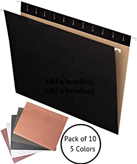 Hanging File Folders - Pack of 10 - Letter Size - Assorted Colors