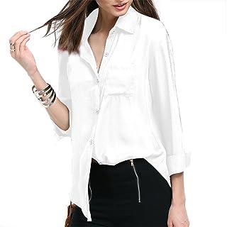 Camisetas para Mujer con Manga Larga, Ropa Gasa del Mujer para Primo o Otono,Blusa de Gasa,Tipo del Collar V