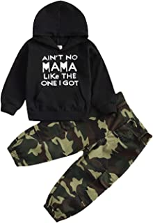 Toddler Baby Boys Long Sleeve Outfit Hoodie Sweatshirts & Pants Newborn Fall Sweatsuit Infant Winter Clothes Set, Black Ca...