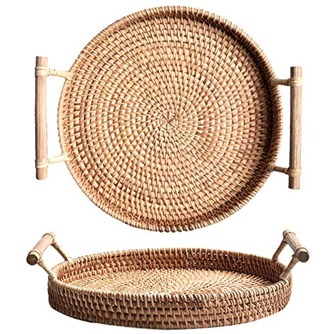 iHogar Hand-woven Round Rattan Serving Tray with Handles Bread Cake Pastries Basket (11 inches)