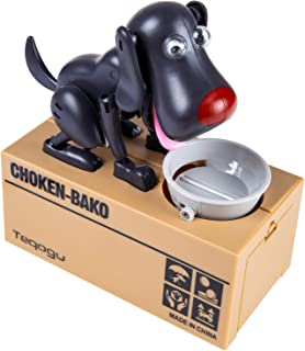Laulry Piggy Bank, My Dog Piggy Bank, Robotic Coin Munching Toy Money Box, Saving Money Coin Bank (Black)