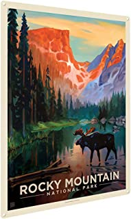 """Anderson Design Group Rocky Mountain National Park: Moose in the Morning 9""""x12"""" Metal Art Print, Home Decor for Office, Nursery, Patio, Garage, Cabin, or Vacation Home"""