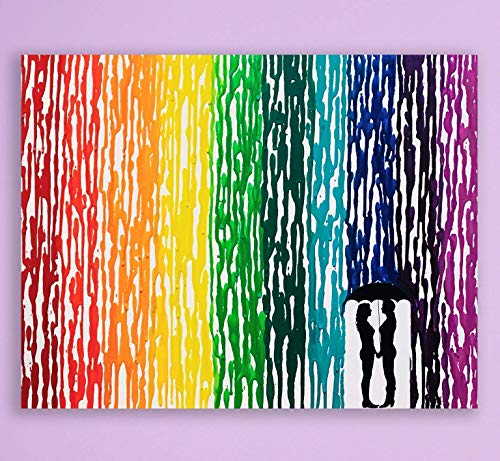 rainbow melted crayon art