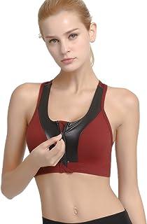 Lingerie Ropa Women's Zip Front Sports Bra Wireless Post-Surgery Bra Active Yoga Built-Up Sports Bras