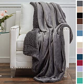 The Connecticut Home Company Micromink Velvet with Sherpa Reversible Throw Blanket, Super Soft, Large Wrinkle Resistant Blankets, Warm Hypoallergenic Washable Couch or Bed Throws, 65x50, Gray