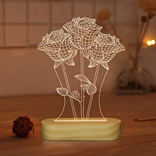 Rose Lamp,Warm White LED Flower 3D Illusion Night Light,Romantic Gifts for Girlfriend,Cool Home Decor