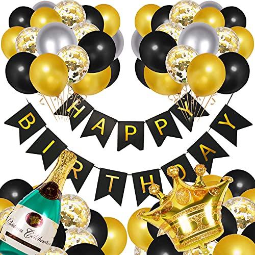 Oro Nero Decorazioni per feste di compleanno con palloncini, palloncini in lattice di coriandoli con striscioni di buon compleanno, palloncini in stagnola con bottiglia di champagne con corona