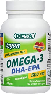 Deva Vegan Omega-3 DHA - EPA 500 mg Potency - Carrageenan Free - 2 Months Supply - Non Fish - from Algae - 60 Vegetarian/V...