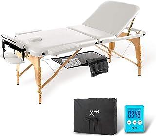 Camilla de masaje 3zonas madera portátil con red y temporizador incluidos, color blanco