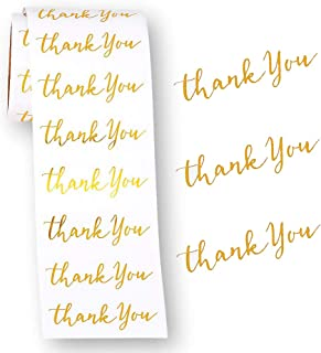 Thank You Stickers Gold Foil Labels Roll Envelope Seals - 3 inches - Elegant Wedding Gift Thank You Cards - Stationary - 100 per roll