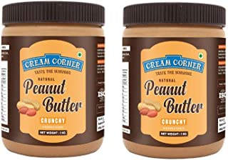 CREAM CORNER Peanut Butter Combo Crunchy + Crunchy Spread All Natural High Protein Nut Butter Healthy Snack (1Kg+1Kg)