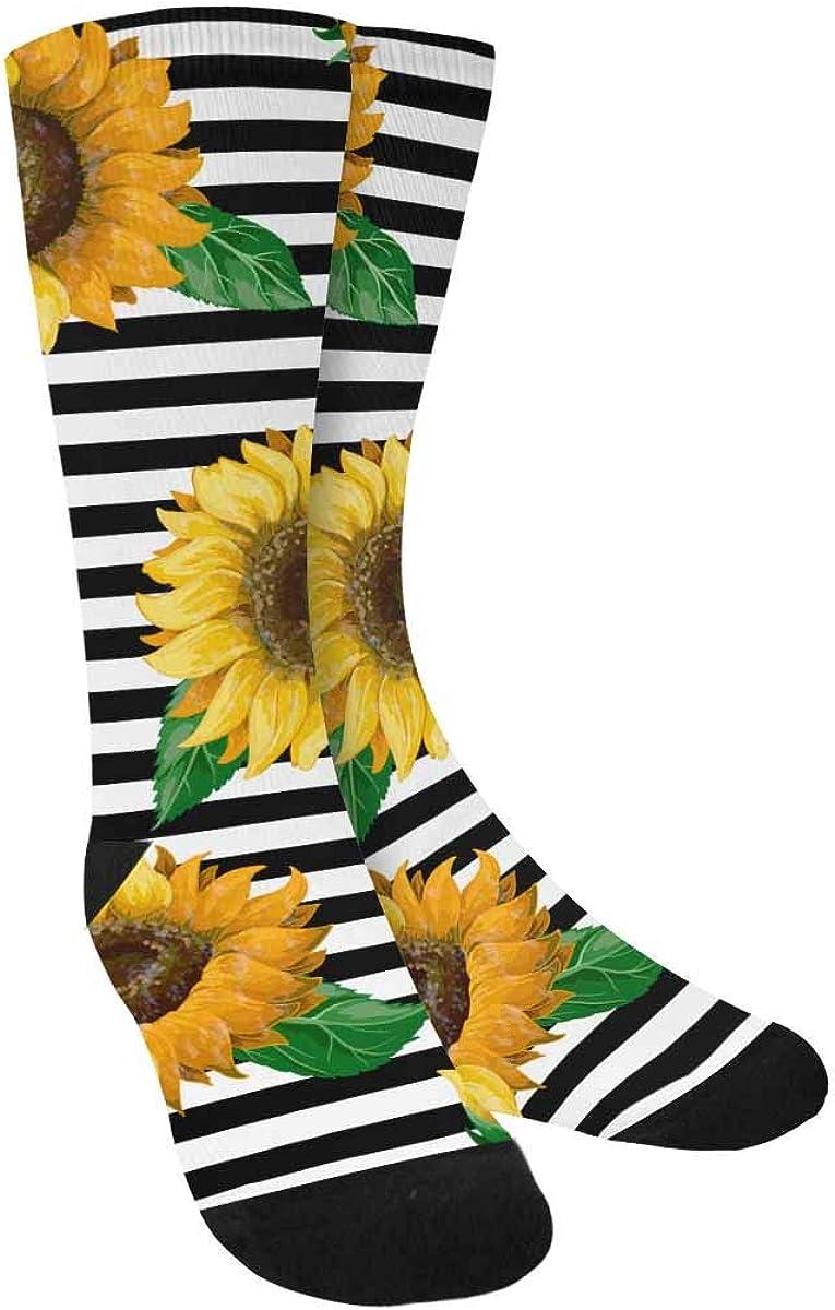INTERESTPRINT Sunflowers on Ribbon Background Outdoor Casual Novelty Custom Socks