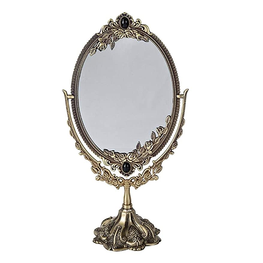 フィッティング注ぎますSelm 化粧鏡オーバル、hdシルバーミラー化粧鏡360度回転バニティミラー寝室用オーバルヴィンテージスタイル (Color : Bronze)