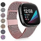 Faliogo Compatibile con Fitbit Versa 3/Fitbit Sense Cinturino, Cinturini di Ricambio Metallo in Acciaio Inossidabile con Chiusura Magnetica Unica per Versa 3/Sense, Piccola Oro Rosa
