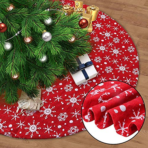 MAGGIFT 48 Inch Red Christmas Tree Skirt with Snowflakes, Traditional Christmas Tree Mat Double Layers for Xmas Party Decoration
