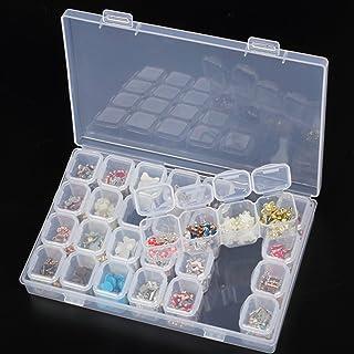 Healthy Clubs Lot de 28 Slots Transparents en Plastique Nail Art Décoration Container Bijoux Display Diamond Painting Acce...