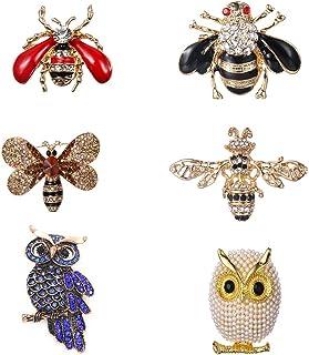 LWZko 6 Pezzi Set di Spilla Donna, Spille Animali, Spilla di Animali in Cristallo Insetto, Vintage Colorato con Owl Bee An...