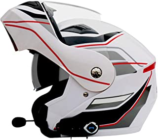 Oeyal Full Face Motorcycle Street Bike Helmet Anti-Fog Full Face Flip up Dual Visors Motorcross Helmets with w/Bluetooth, MP3, GPS (Large, White)