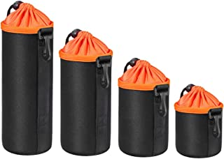 Smakinfly 4 Pack Lens Pouch Lens Case Thick Waterproof Protective Neoprene Lens Pouch Set for Sony Canon Nikon Camera Lens