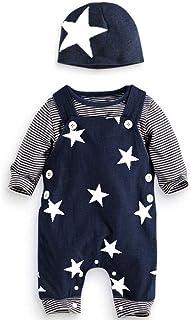 HUBA Babystrampler Kleidung Set, Stardruck Overalls Klamotten, langärmelige lässige Oberteil Tops Pumphose Hut Jumpsuit Outfits babyborn anziehsachen Klamotten