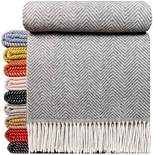 STTS International Wohndecke Wolldecke Decke sehr weiches Plaid Kuscheldecke 140 x 200 cm Wolle Milano/Verona (Grau)