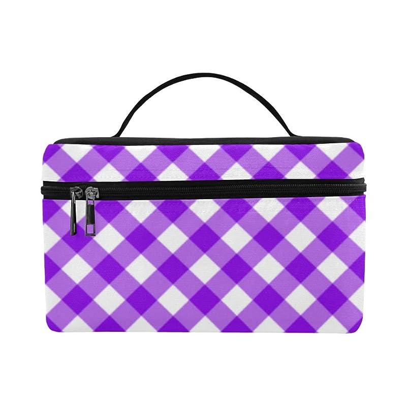 今水没熱狂的なTELSG メイクボックス 紫色格子縞 コスメ収納 化粧品収納ケース 大容量 収納ボックス 化粧品入れ 化粧バッグ 旅行用 メイクブラシバッグ 化粧箱 持ち運び便利 プロ用