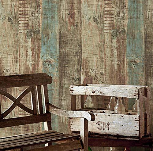 PVC Vinilo Rayas Vintage Papel Pintado Panel de Madera Industrial Papel de Pared Rollo Cafetería y Bar y Restaurante Decoración de Pared 5.3m²